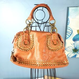 Very Volatile brown faux leather studded purse
